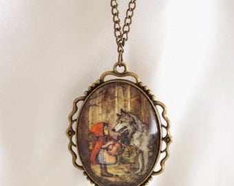 Little Red Riding Hood  vintage style, cameo nacklace