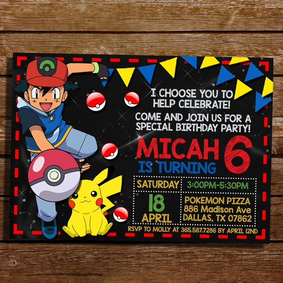 It's just an image of Witty Printable Pokemon Invitations