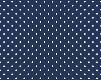Riley Blake, White Swiss Dots on Navy, fabric by the yard