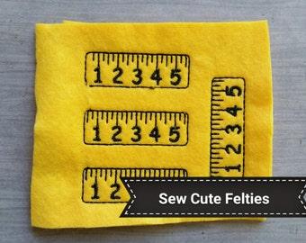 School Rule Felties - Sheet of 4 Rulers Felties - School - Felties -Embroidered Felt Appliques - Hair Bow Centers