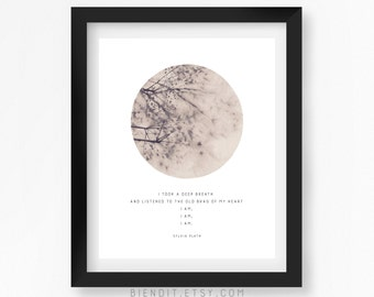 I am, Literary Quote, Sylvia Plath, Inspirational Quote, Quote Print, Nature, Typography Print, Literary Art, Minimalist Art