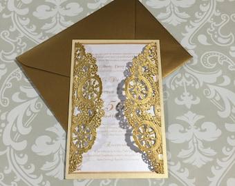 Metallic doilies wedding invitation, doily wedding invitation, gold doily invitation set of 25