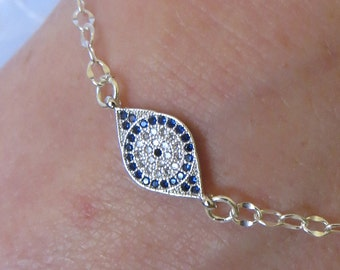 Sterling Silver Bracelet with Blue And Clear Crystals Oval Charm, SB-116