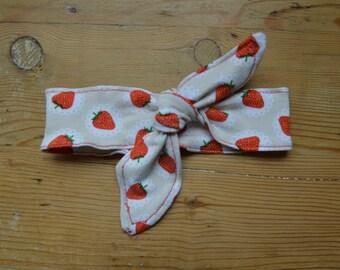 Jersey node headband - Strawberry pattern