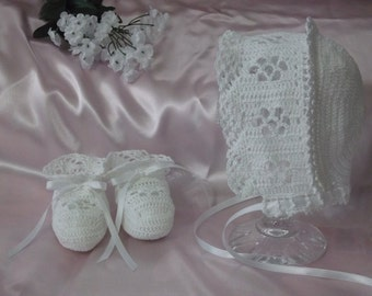 Handmade, Hand Crocheted Old Fashioned Baby Bonnet/Booties set for a baby or doll.  White with white ribbons.