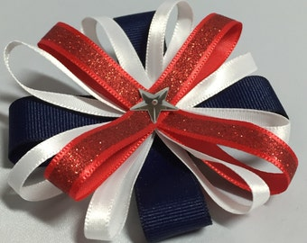 Patriotic red, white & blue loopy bow