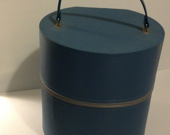 Blue Vintage Hat Box w/Zipper /Wig Box