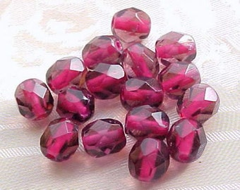 6mm Firepolish Fuchsia Czech Beads Fuchsia Czech Glass Beads Faceted Round Glass Beads Hot Pink Czech Beads Dark Pink Transparent Glass (24)