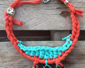 Necklace with recycled fabric