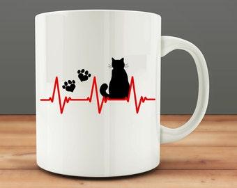 Cat Heartbeat mug, funny cat mug (M13)