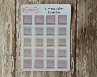 Air Filter Reminder Stickers, Change Air Filter Stickers, Erin Condren Planner Stickers,  Home Maintenence Stickers, C-75.