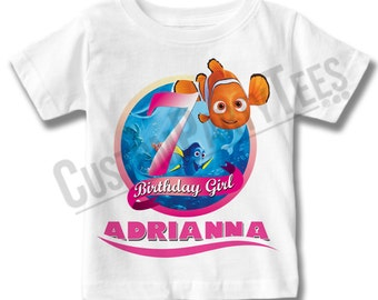 Finding Nemo Birthday Shirt Add Name & AGE Personalized Finding Dory Birthday T-Shirt LL 01