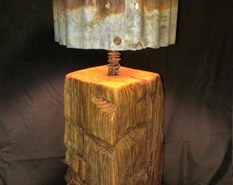 Table lamp reclaimed barnwood beam