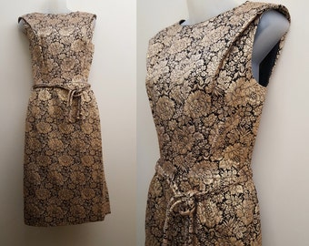 Vintage 1950s/1960s Wiggle Dress // 50s/60s Metallic Gold and Black Brocade Evening Dress Small