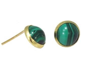 14K Real Gold Earrings, Green earrings, Malachite earrings, Gold Stud Earrings, Gold Studs, Gold Jewelry, Malachite Studs, 14k Gold Earrings
