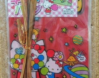 20 Pcs - Hello Kitty Gift Bags Plastic Bags PET Bags with Wire for Party