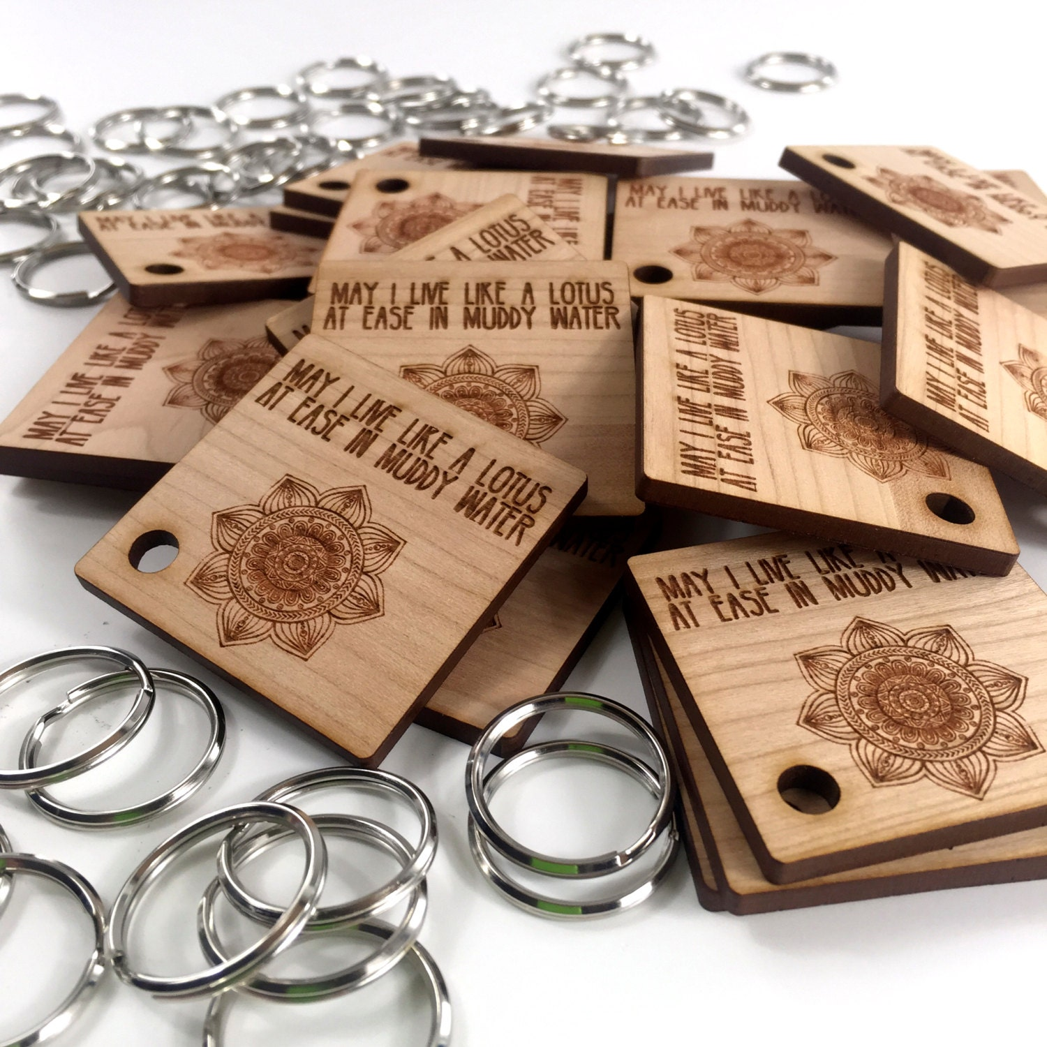 custom wood keychains wooden square key ring handmade label small