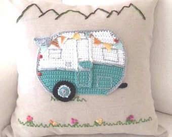 Vintage Retro Camper hand crafted pillows