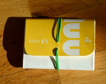 Wallet made from a milk carton - Yellow - Icelandic milk - Recycling - Upcycling - Handmade in Iceland