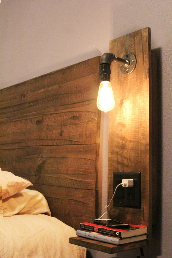 Wall Mounted Night Table Lamps : Rustic Floating Night Stand w/ light