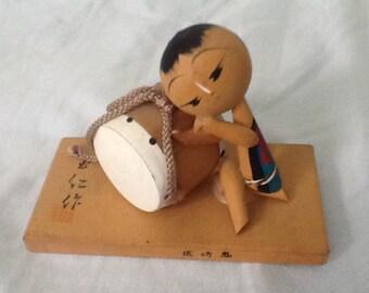 Vintage Kokeshi drummer boy, Japan