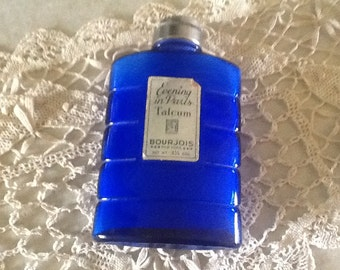 Vintage, Evening in Paris glass powder bottle with powder and label