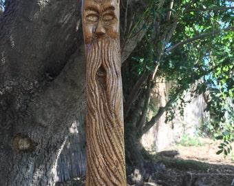 Hand carved walking stick, Wood spirit walking stick