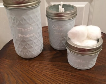 Set of 3 quilted mason jars