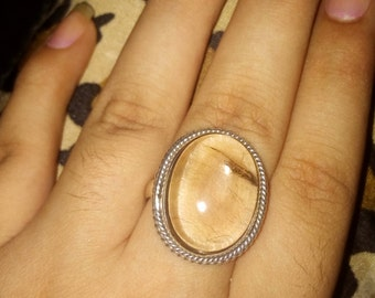 20 % OFF on Golden Rutile Ring with 92.5 Sterling Silver Ring - Gift for Her-Oval Shaped Ring-Ring Size 9 US