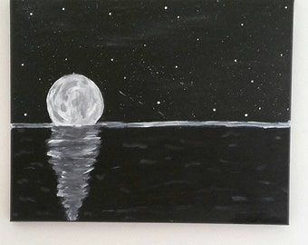 Midnight Reflections- 16x20 Acrylic painting on stretched canvas Glow in the dark!