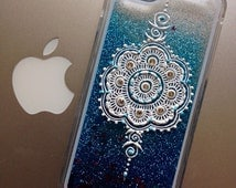 Hand Painted iPhone 5/5S iPhone 6/6S Blue Water Glitter Phone Case with Mandala Inspired Designs/Henna Phone Case/Glitter Phone Case