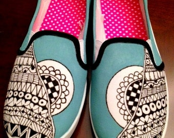 Zentangle, Hand painted Canvas Shoes / Custom Blue Spring Shoes / Wearable Art