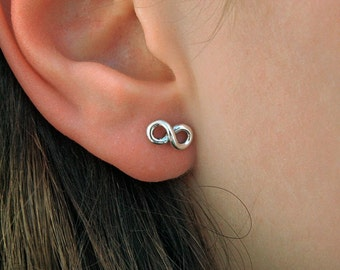 Tiny Infinity Stud Sterling Silver Earrings,Silver Infinity Earrings,Sterling Silver Infinity,Stud Earrings,  Silver Earrings,020ES
