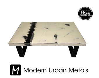 FREE SHIPPING - Modern Coffee Table, Urban Industrial Contemporary Loft Furniture, Commercial Retro Abstract Art, Metal Legs, Cream, White