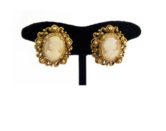 Vintage Cameo Earrings, Classic Vintage Victorian Style Earrings, Gold Earrings