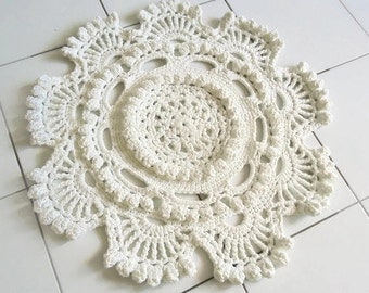 Crochet Doily Rug, Beige Cotton Rug, Rounded Doily Rug