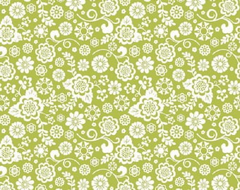 "Riley Blake designs  Fancy Free Green and White  ""Fancy Floral"""