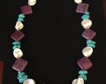 Turquoise, purple and pearl rock bead necklace