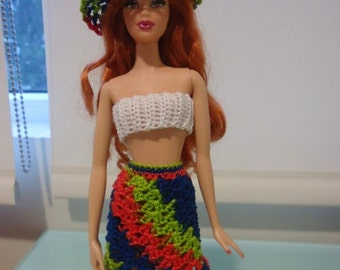 Barbie Shell-Stitched Skirt and Cropped Top crochet pattern pdf instant download