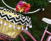 Super Cute Yellow and Black Chevron Bicycle Basket Liner with Tassels