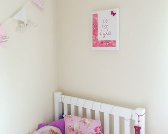 Personalised buttonart initial canvas in pink, blue or white