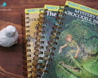 Hardy Boys, Nancy Drew , Upcycle, books, journal, notebook, notepads, art folio, sketch pad, upcycled book,  repurposed, diary, calendar