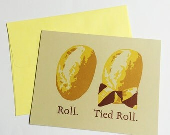 Roll. Tied Roll. -humorous letterpress card for Bama fans