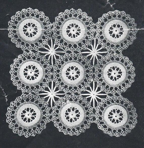 Vintage crochet pattern star wheel motif design crochet - Crochet mural vintage ...