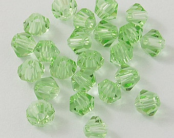 4mm Light Green Swarovski Faceted Crystals Light Green Crystal Beads Bead Supplies Jewelry Supplies Beads Craft Supplies Natural Crystals
