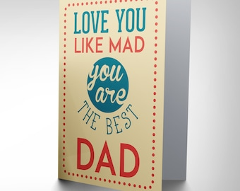 Father Day Card - Best Dad Love You Blank Greetings Card Cp2181