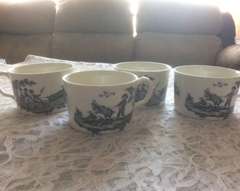 Wedgwood Etrurian Black Transferware Mugs