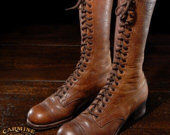 20th Century Brown Women's Work Boots Lace-up Shoes