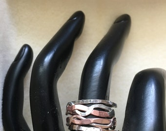 Sterling Silver & Copper Braided Rings