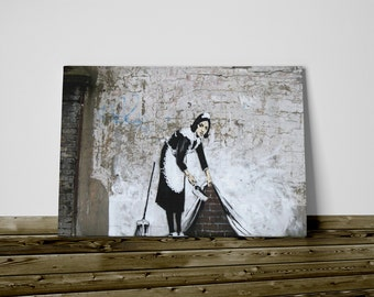 Bansky print on canvas 50 x 70 cm Colf already framed and ready to hang